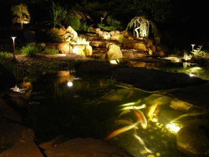 koi pond lighting ideas. landscape lighting create gift ideas koi pond