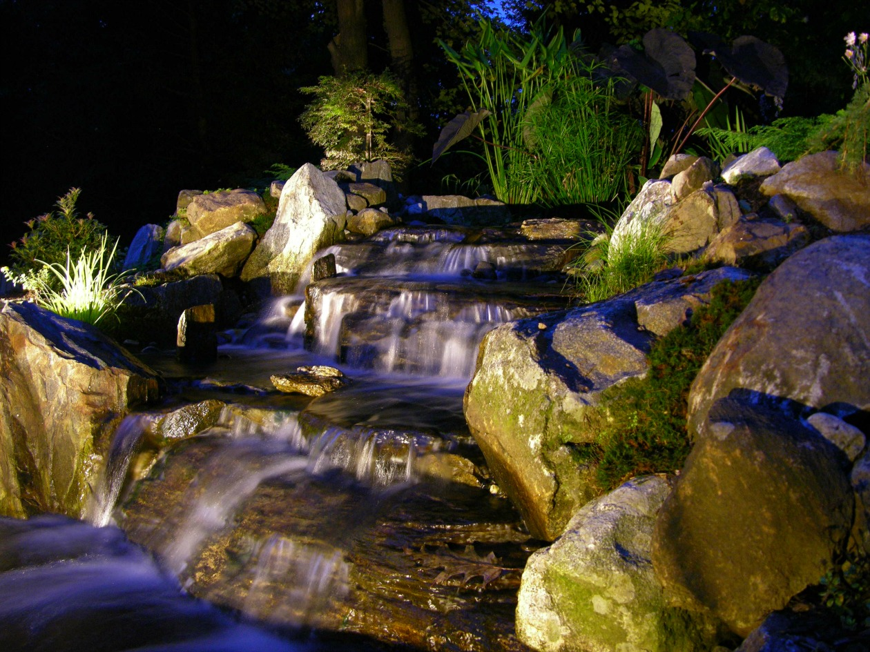 Outdoor lighting in downingtown pa pond lights path for Garden pond lights